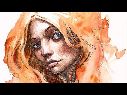 Portrait illustration, ink and watercolor 001 - YouTube