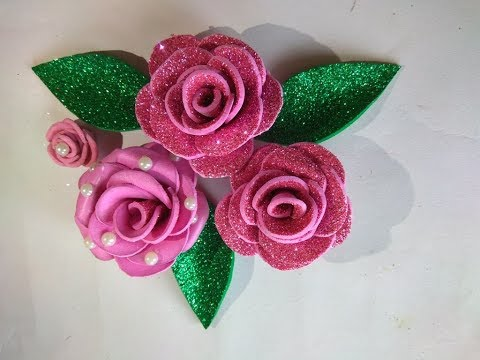 diy-foam-sheet-glitter-rose-/-how-to-make-rose-for-gift-packing-/-easiest-way-of-making-rose-at-home