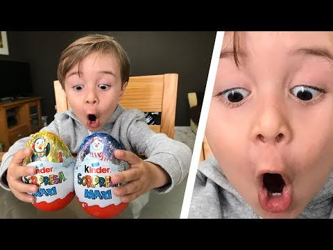 2 GIANT KINDER SURPRISE EGGS!! Maxi Kinder Chocolate Surprise Eggs with Toys for Kids