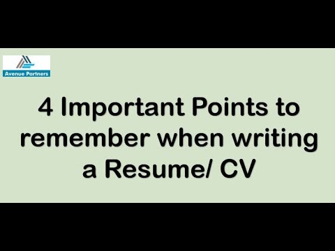 How to make a Resume/CV | Tips for writing effective Resume/ CV... | Avenue Partners