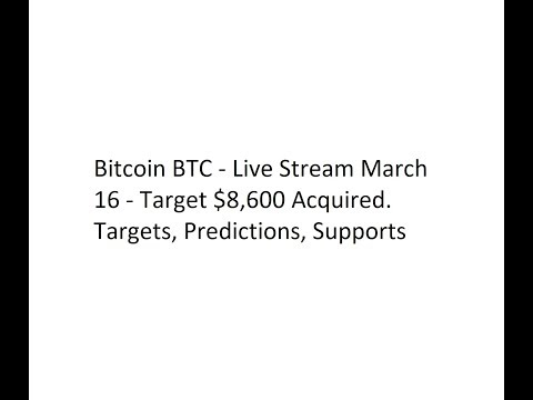 Bitcoin BTC - Live Stream March 16 - Target $8,600 Acquired. Targets, Predictions, Supports