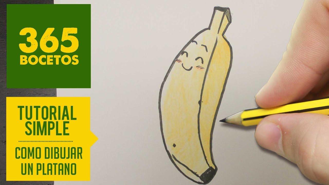 Como Dibujar Un Platano Kawaii Paso A Paso Dibujos Kawaii Faciles How To Draw A Banana