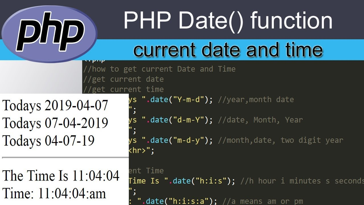 Current date today php datetime