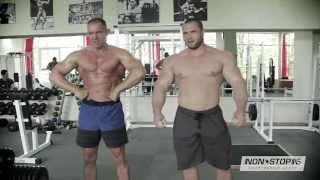 Тренировка спины Аркадия Величко и Геннадия Казачкова в Non-Stop