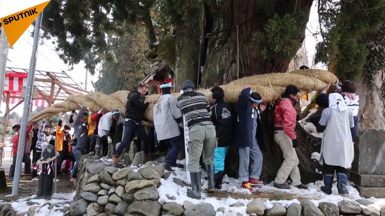 Japans Hodare Festival Newlywed Women Ride Giant Wooden Phallus