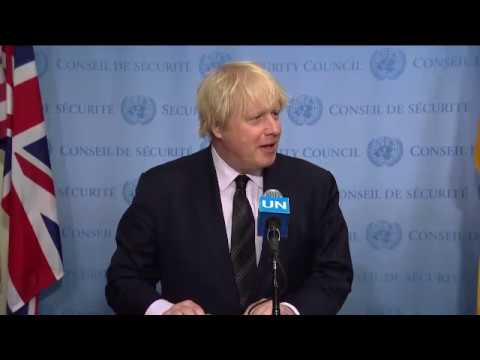 Security Council President Boris Johnson (UK) on the terrorists attacks in London - Media Stakeout