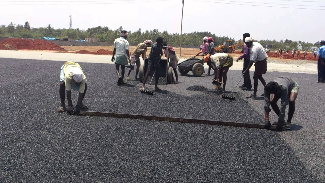 laying of polymer coated bitumen roads in Step 4 the plastics waste coated aggregate is mixed with hot bitumen and the resulted mix is used for road construction the road laying temperature is between 110°c to 120°c the roller used is 8-ton capacity adding of bitumen 14 15 mixing laying and compaction 15 16 16 17 field trials there are two type of field trials-: 1.