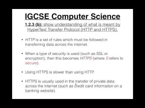 IGCSE Computer Science Tutorial: 1.2.3 (b) –HyperText Transfer Protocol