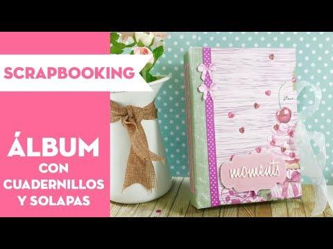 Álbum con cuadernillos ampliables y solapas. TUTORIAL SCRAPBOOKING⎪PEGA PAPEL O TIJERAS