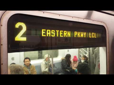 IRT Eastern Parkway Line: Flatbush Avenue Bound R142 (2) Train Entering & Leaving @ Borough Hall