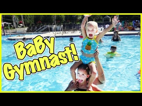 😜 BABY RORY TRIES GYMNASTICS IN THE POOL 😜 IS SHE THE NEXT OLYMPIAN!?!? 😜