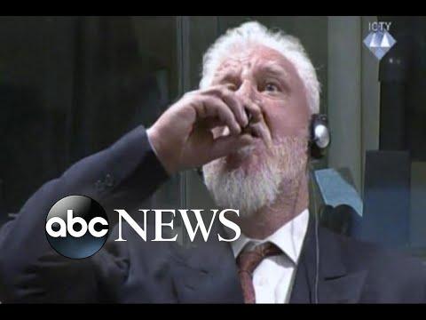 Bosnian war criminal drinks poison in court
