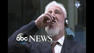 Bosnian war criminal drinks poison in court