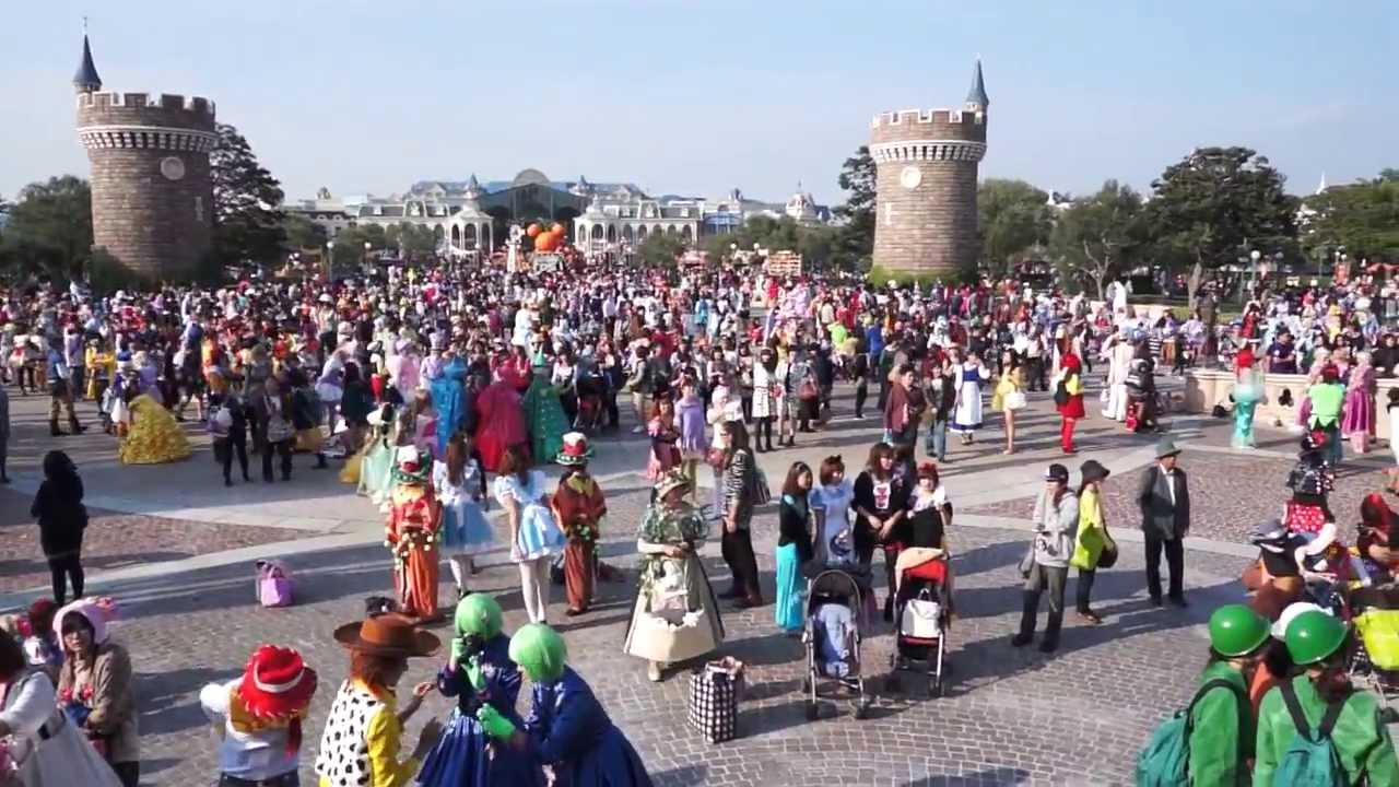 tdl】ディズニーハロウィン2013年10月31日のシンデレラ城前の全身仮装