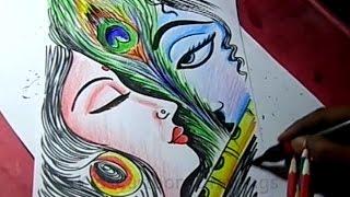 How to Draw Lord Radha Krishna Drawing