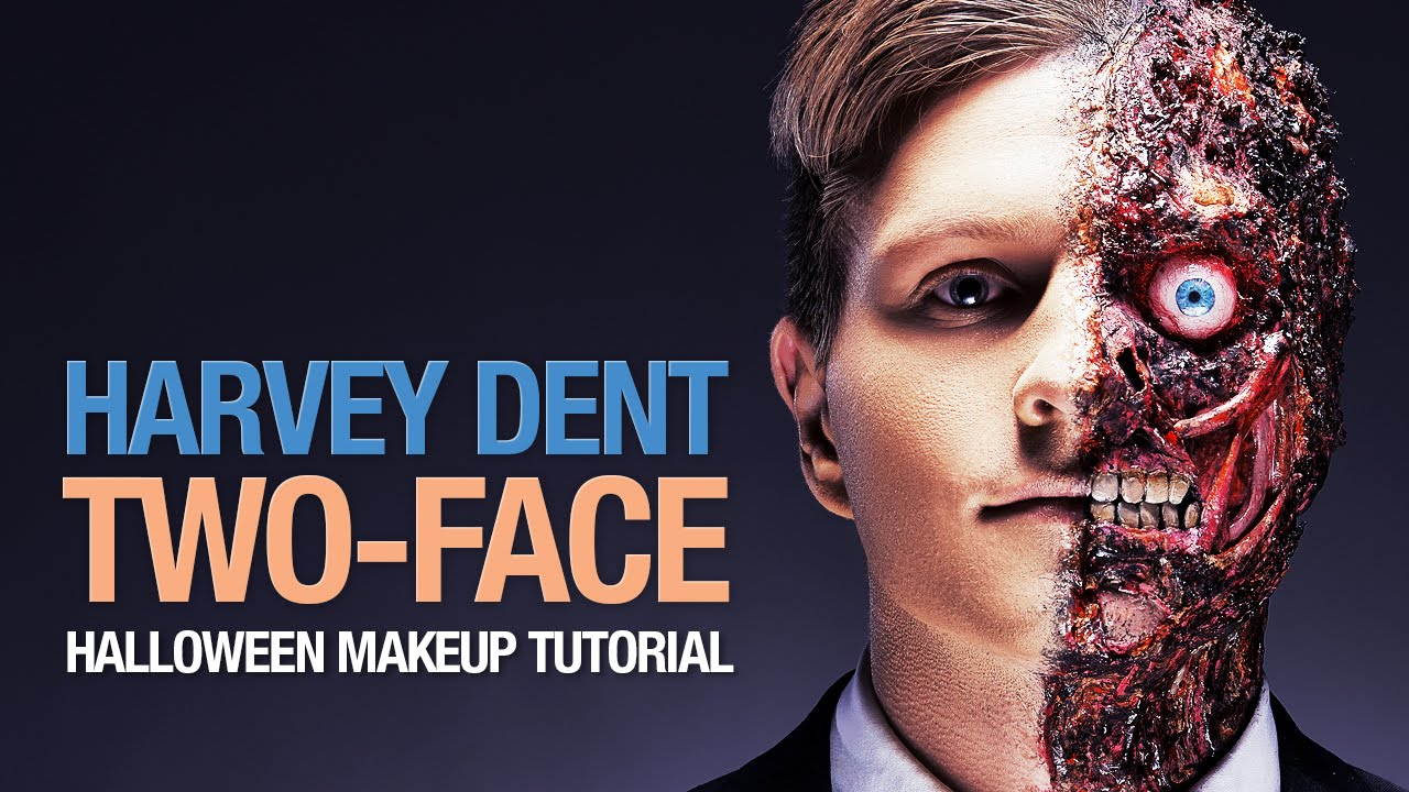 Harvey Dent - Two-Face Halloween makeup tutorial - YouTube
