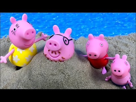 STORY WITH PEPPA PIG, GEORGE AND THEIR FAMILY AT BEACH MAKING SANDCASTLES WITH KINETIC SAND