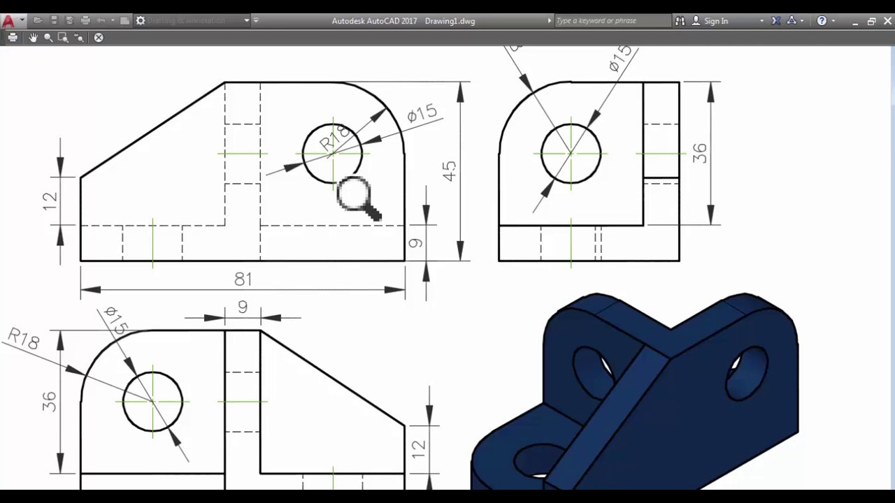 How to generate 2d views from 3d models in autocad 2017 Cad models