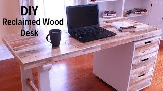 DIY Desk with hidden laptop storage using reclaimed pallet wood - How to make