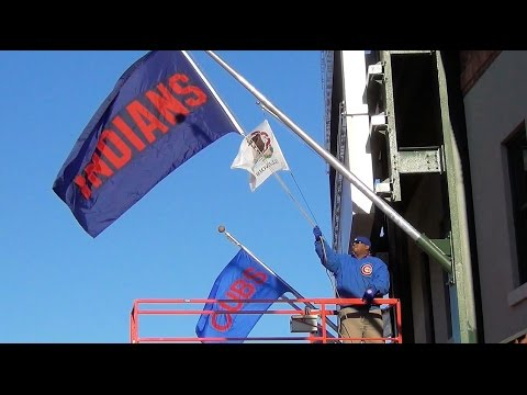 Chicago Cubs World Series - Cleveland Indians flag is hoisted at Wrigley Field. 2016 Wrigleyville
