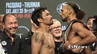 Manny Pacquiao Vs Keith Thurman Who Won The Face Off EsNews Boxing