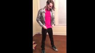 Autumn Stay guitarist tries on leather pants from the 80s