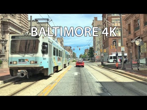 Driving Downtown - Baltimore Maryland USA 4K