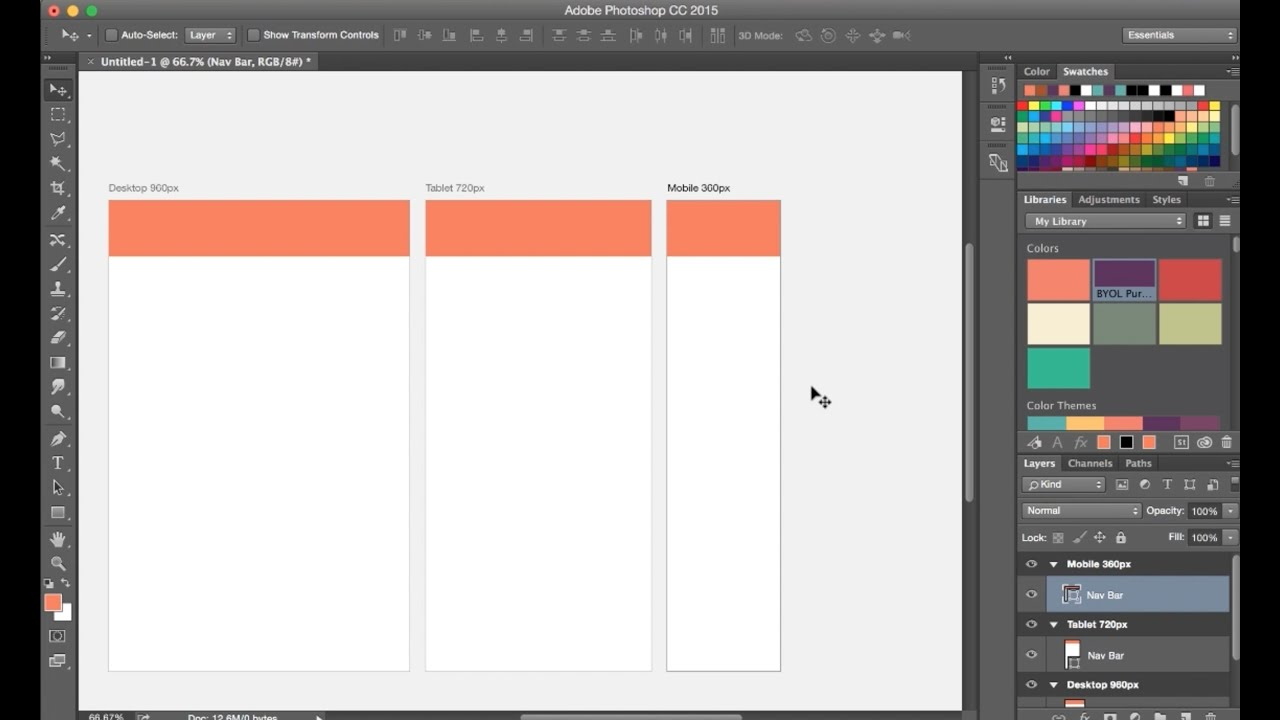 How To Use Artboards Photoshop CC 2015 Tutorial - Create Web Page Designs Part - 18/48