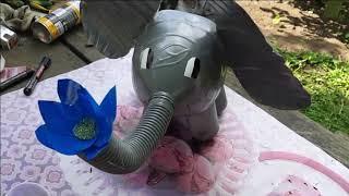 Клумба для цветов своими руками. Поделка для сада и дачи. Слон из пластиковых бутылок.