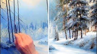 Winterlandschaft Acryl. Зимний лес акрил. Winter landscape acrylic
