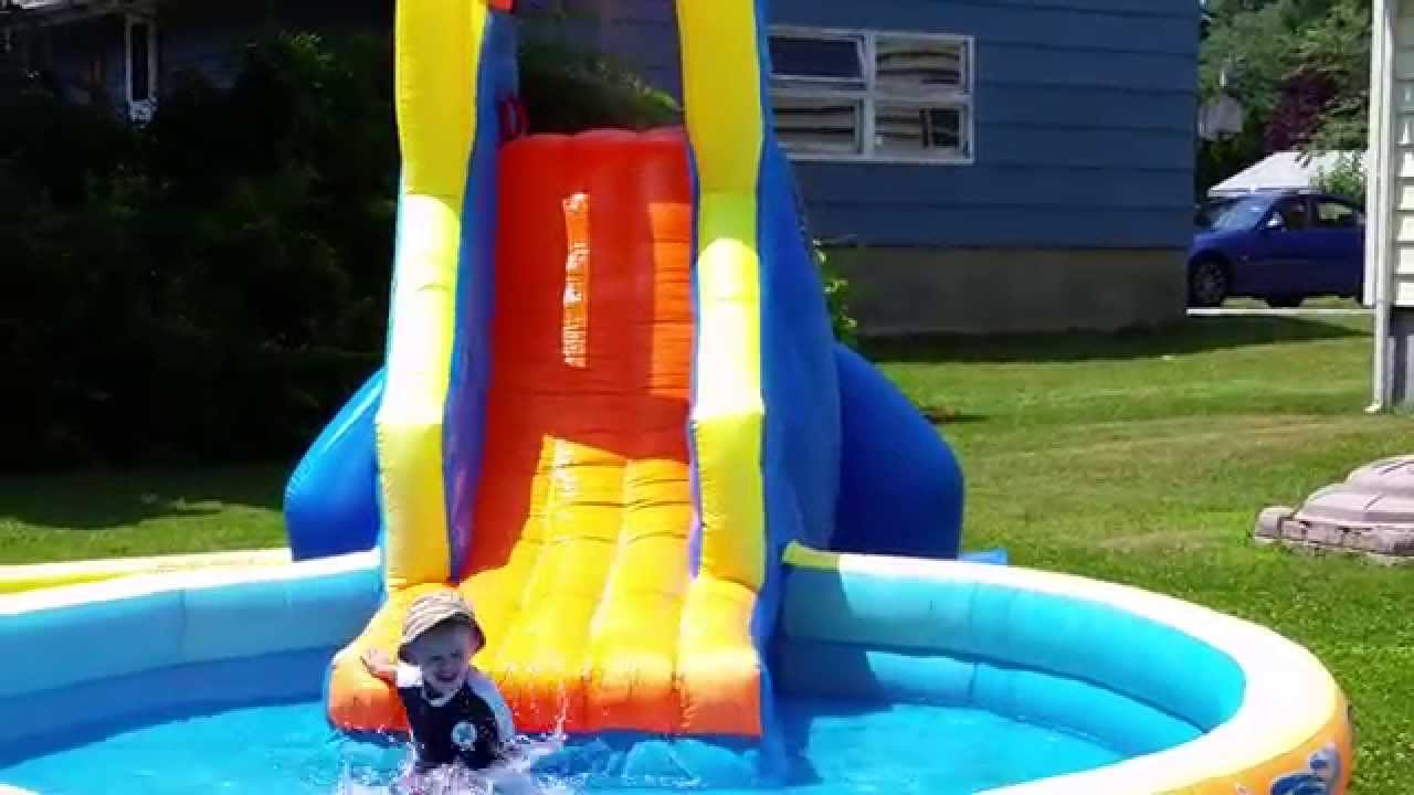 ryan playing on the banzai the plunge water slide and pool youtube