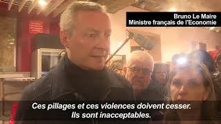 """""""Gilets jaunes"""" : les débordements sont """"une catastrophe pour notre économie"""", dit Le Maire"""