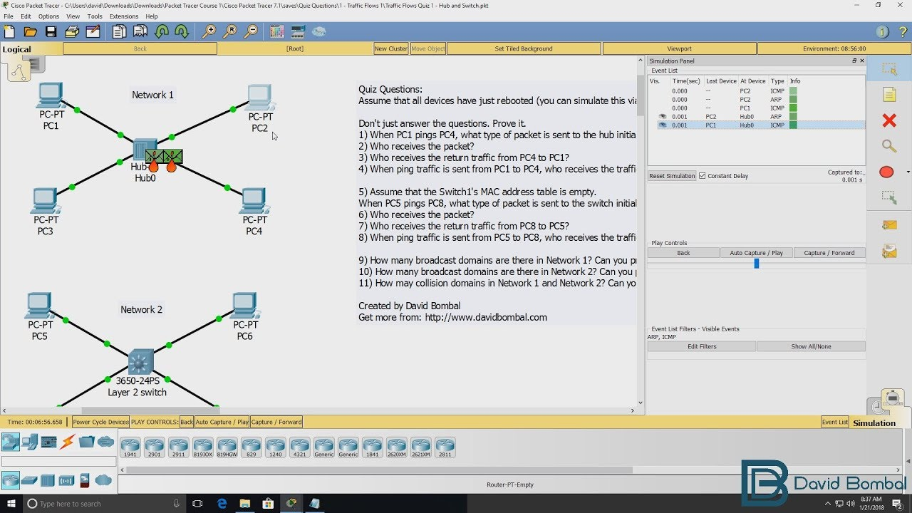 Cisco CCNA Packet Tracer Ultimate labs: Exam Quiz Questions: Answers Part  2: Broadcasts & Collisions