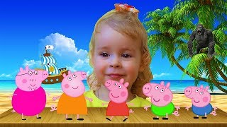 Learn colors with Peppa Pig & King Kong for Children - Finger Family song Nursery rhymes for kids