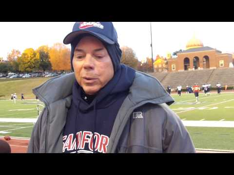 Samford head coach Pat Sullivan talking with the media before practice Nov. 14, 2012
