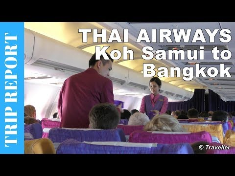 Thai Airways Boeing 737 Economy Class flight review from Koh Samui to Bangkok Suvarnabhumi Airport
