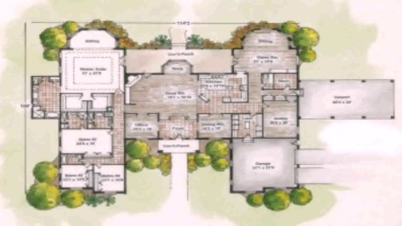 Ranch style u shaped house plans youtube for U shaped house plans