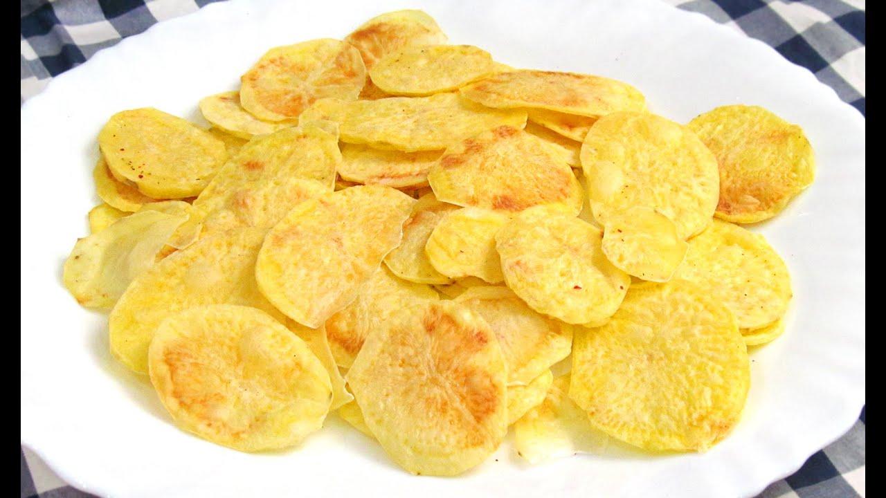 Patatas chips al microondas receta f cil youtube for Cocinar repollo con patatas