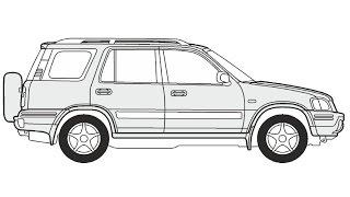 How to Draw a Honda CR-V / Как нарисовать Honda CR-V