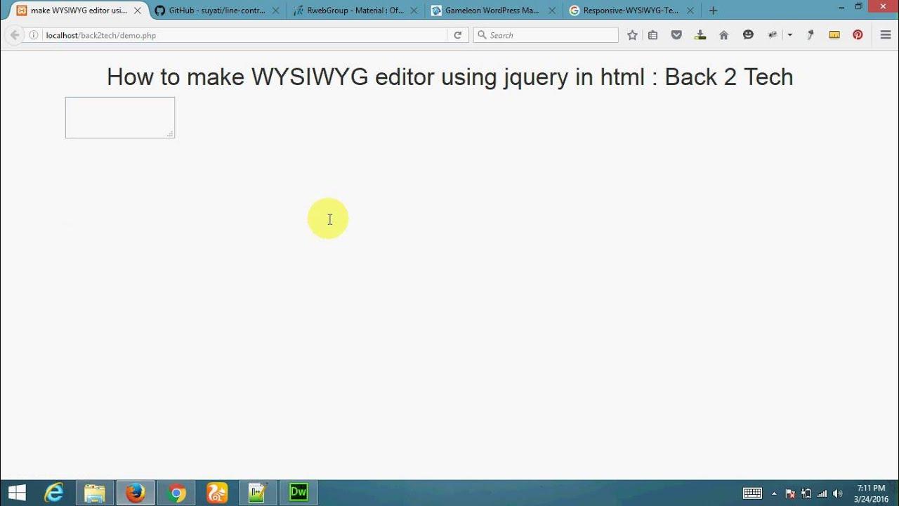 Simply Make WYSIWYG editor using jquery in html - English