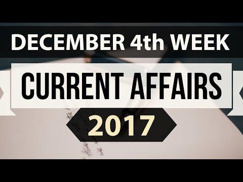 (English) December 2017 current affairs MCQ 4th Week - IBPS PO / SSC CGL / UPSC / RBI Grade B 2018
