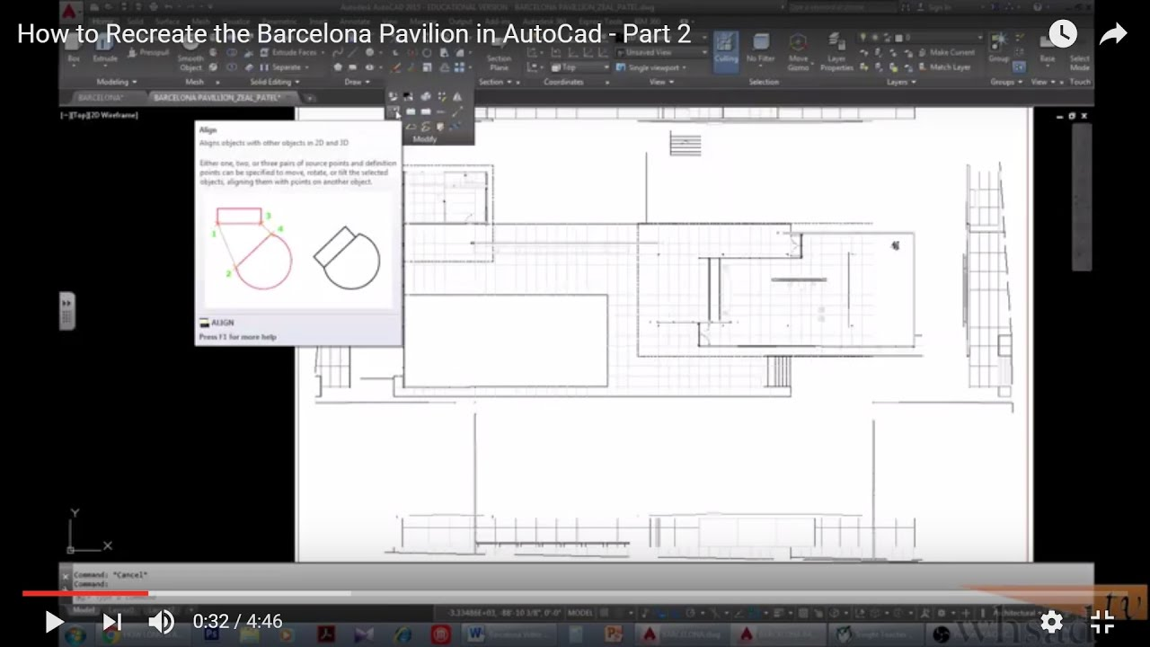 How To Recreate The Barcelona Pavilion In Autocad Part 2 Youtube