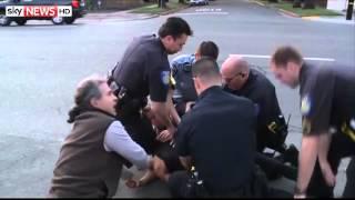 cop s diving tackle catches break in suspect