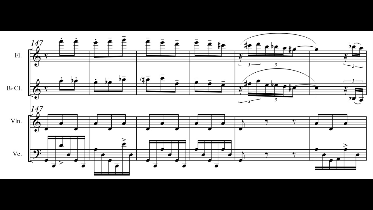 Michalis Andronikou - Panora Mix for Flute, Clarinet, Violin and Cello  (2011) [Score-Video]