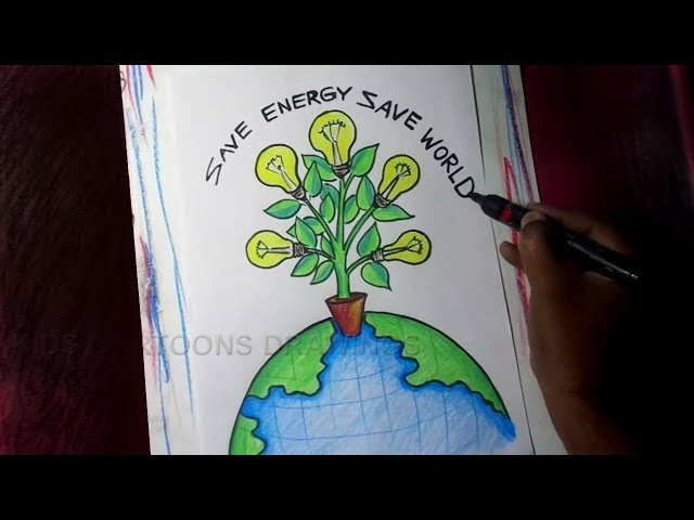 How to Draw Save Energy / Save World Poster Drawing for Kids