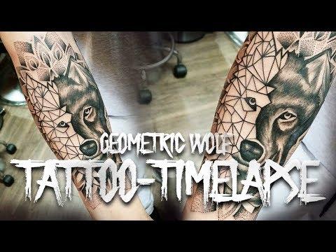 GEOMETRIC WOLF // TATTOO TIMELAPSE // @krakentattooist //