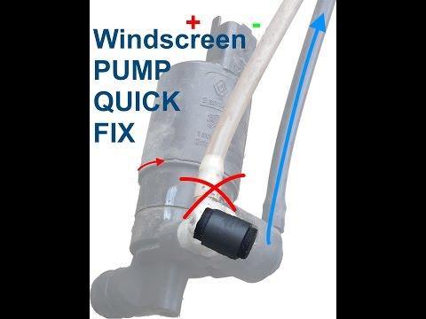 Quick fix of a windscreen fluid pump.