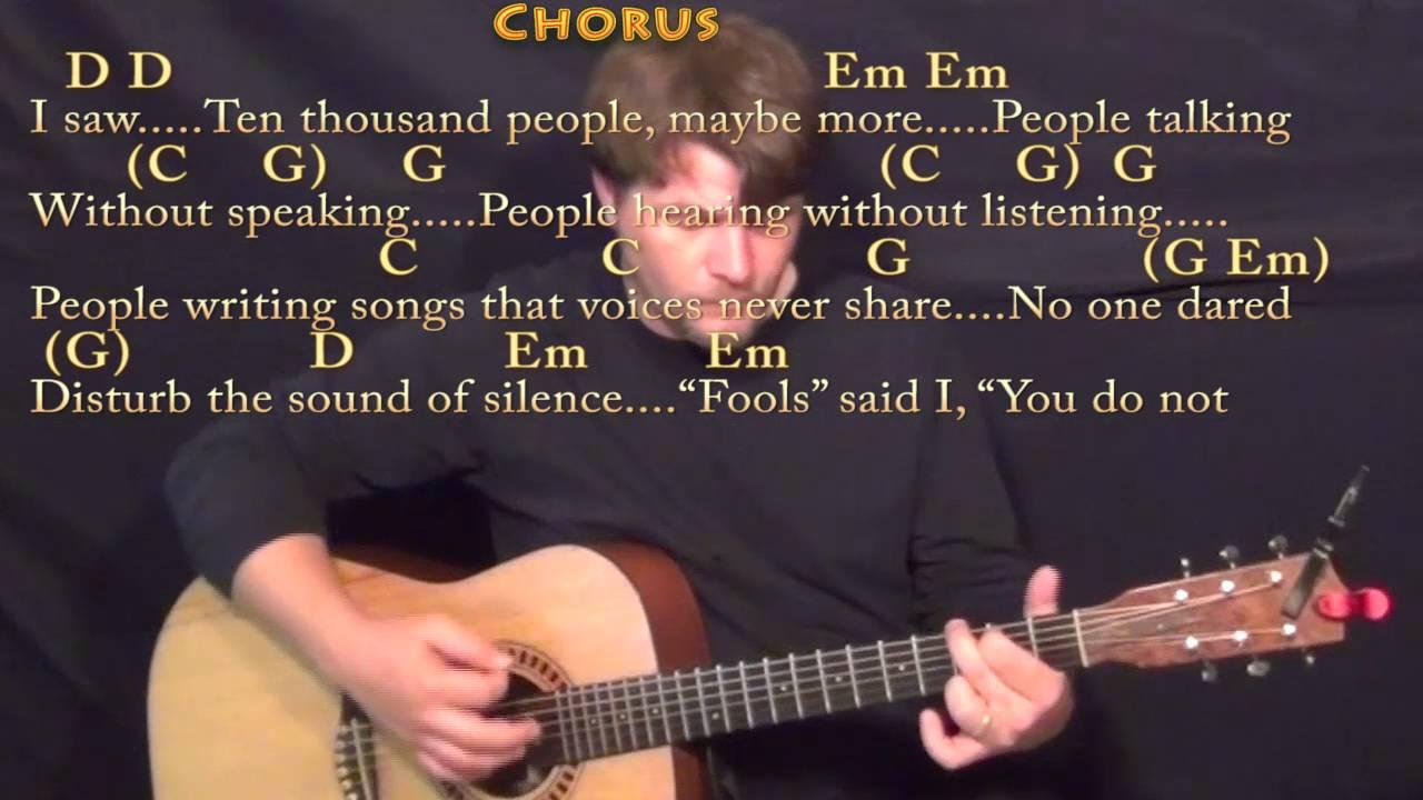 The Sound Of Silence Simon Garfunkel Guitar Lesson Chord Chart