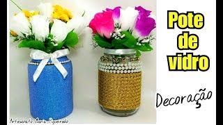 Pote de Vidro Decorado para festas/ casamento, aniversário – Vaso de flores