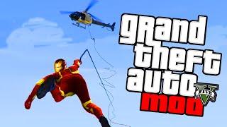 GTA 5 PC Mods - Spiderman Iron Man MOD! GTA 5 Grapple Hook Funny Moments & Stunts! (GTA 5 Mods)